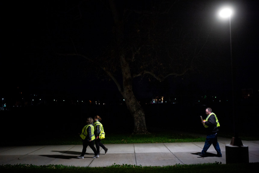 Homeless Count volunteers walk a tract in LA County.