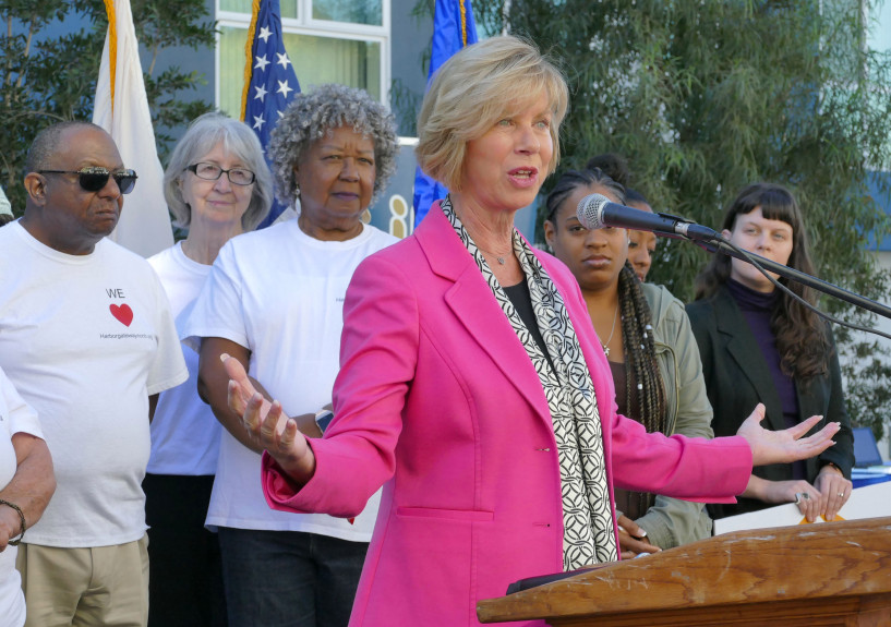 Supervisor Janice Hahn speaks at a podium